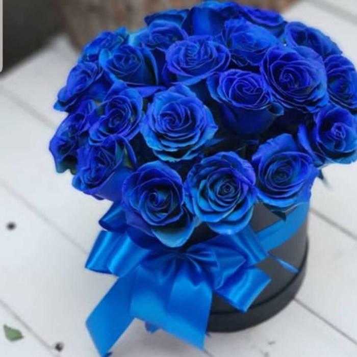 15 синих роз в коробке R187