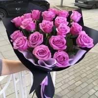 Букет 15 розовых роз в крафте R028