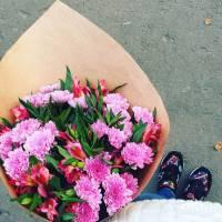 Сборный букет хризантемы и альстромерии R023